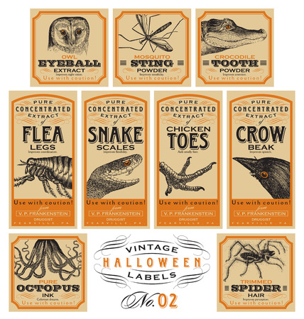 Funny vintage Halloween apothecary labels - set 02 (vector)