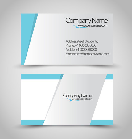 Business card set template. Blue and silver color. Vector illustration.