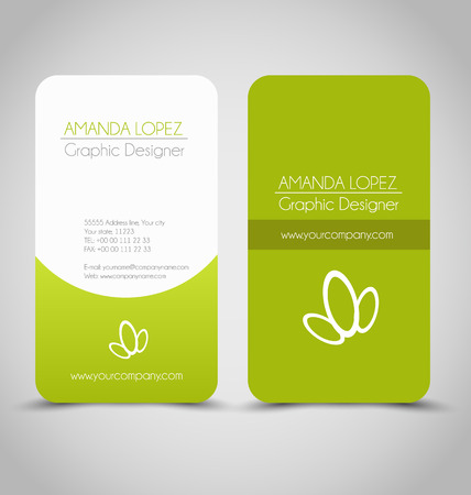 Illustration pour Business card set template for business identity corporate style. Green and white color. Vector illustration. - image libre de droit
