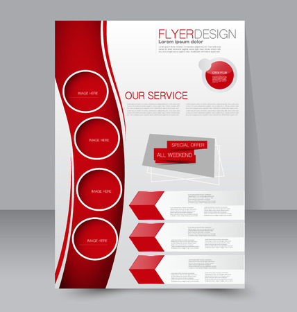Ilustración de Flyer template. Business brochure. Editable A4 poster for design, education, presentation, website, magazine cover. Red color. - Imagen libre de derechos