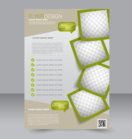 Ilustración de Flyer template. Brochure design. Editable A4 poster for business, education, presentation, website, magazine cover. Green color. - Imagen libre de derechos