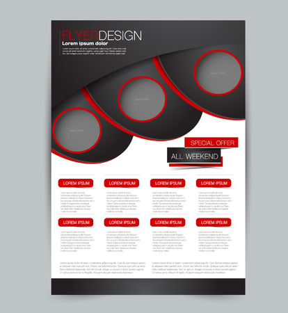 Illustration pour Flyer template. Design for a business, education, advertisement brochure, poster or pamphlet. Vector illustration. Black and red color. - image libre de droit