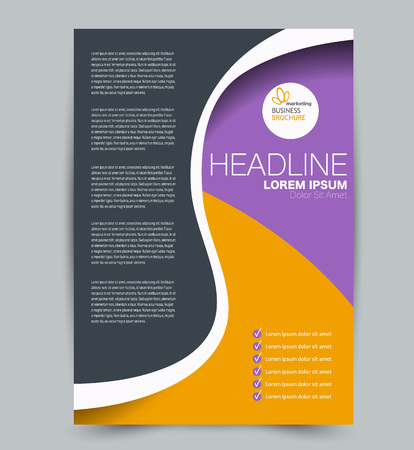 Illustration pour Flyer template. Design for a business, education, advertisement brochure, poster or pamphlet. Vector illustration. Purple and orange color. - image libre de droit