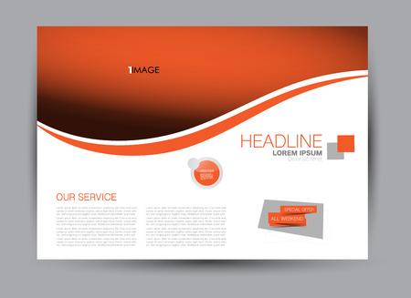 Illustration for Flyer, brochure, billboard template design landscape orientation for education, presentation, website. Orange color. Editable vector illustration. - Royalty Free Image