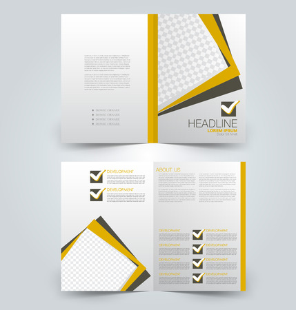 Illustration pour Fold brochure template. Flyer background design. Magazine or book cover, business report, advertisement pamphlet. Yellow and brown color. Vector illustration. - image libre de droit