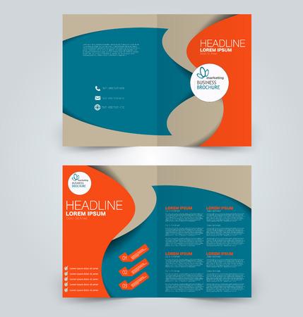 Illustration pour Fold brochure template. Flyer background design. Magazine cover, business report, advertisement pamphlet. Blue and orange color. - image libre de droit