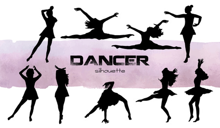 Vector illustration. Girls in dance silhouettes . Dancer set.