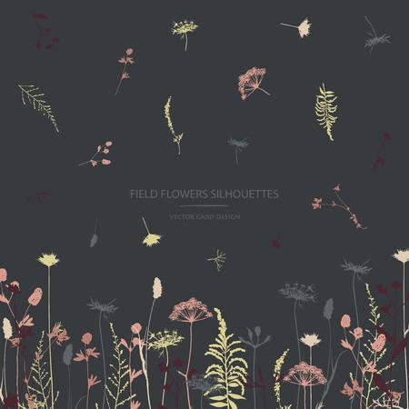 Illustration pour Vector silhouettes collection. Set of field herbs, flowers. Card design. - image libre de droit