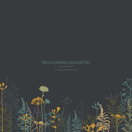 Illustration pour Vector silhouettes collection. Set of field flowers and herbs. Card design. Label design. - image libre de droit