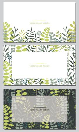 Illustration pour Vector silhouettes collection. Set of field herbs, flowers. Set of visiting card design. - image libre de droit