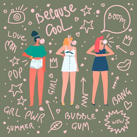 Illustration pour Women in summer clothes with bubble gums on doodle style background with different quotes. Vector flat illustration - image libre de droit