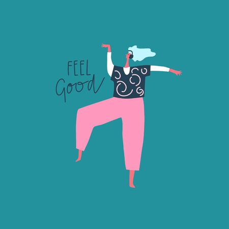 Illustration pour Dancing girl with headphones and hand drawn phrase: feel good. Vector flat illustration - image libre de droit
