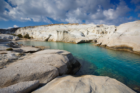 Internationally famous Sarakiniko beach in Milos island, Greece.