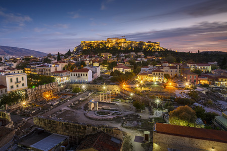 Photo for View of Acropolis from a roof top coctail bar at sunset, Greece. - Royalty Free Image