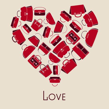 Illustration pour Woman handbags vector illustration in heart with love - image libre de droit