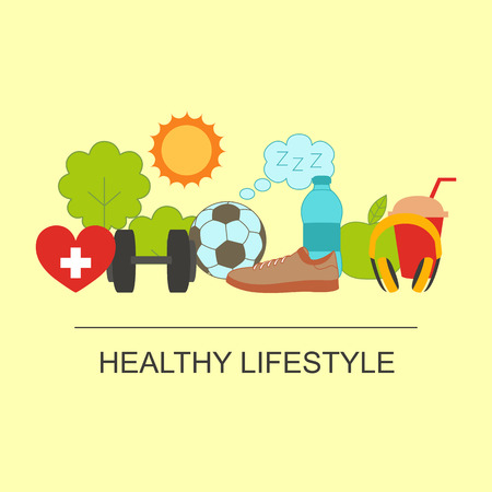 Illustration pour Healthy lifestyle set with food and sport icons - image libre de droit