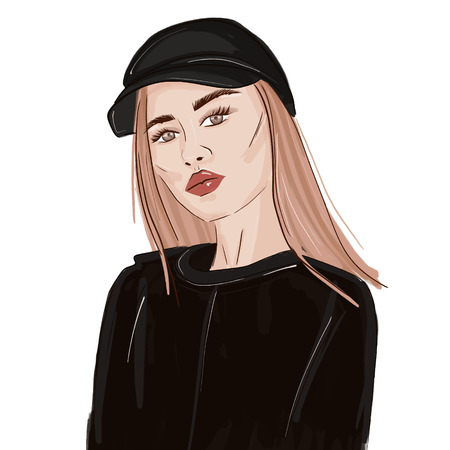Illustration pour Sport look fashion woman illustration. Swag stylish beauty portrait. Runaway girl trendy sketch. Stylish magazine young person poster - image libre de droit