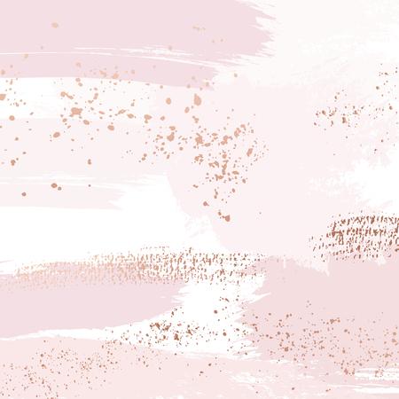 Illustration pour Vector Nude rose brush strokes with golden sparkles pattern, luxury outline decoration. Pastel pink delicate art background - image libre de droit