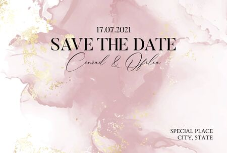 Illustration pour Hand-drawn marble texture in soft pink colors with watercolor fluid ink and golden foil glitter. Chic business cover, Save the Date card - image libre de droit