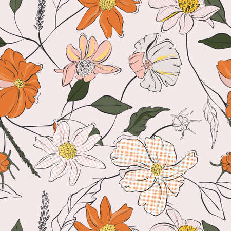 Ilustración de Flower power seamless pattern. Daisy bloom repetition design. Colorful leaves and buds - Imagen libre de derechos