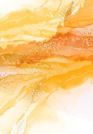 Illustration pour Alcohol ink drawing technik, oriental water splash decor. Fine art watercolor fluid ink in yellow color, marble 2020 vector with golden paint. - image libre de droit