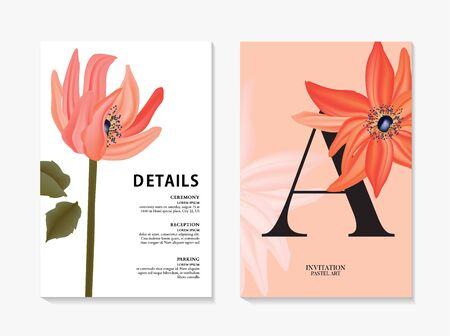 Illustration pour Big macro flower red dahlia design i vector. Wild floral holiday card template, greenery contrast save the date card. Nature realistic flower store  design. - image libre de droit