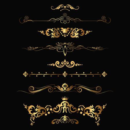 Set of design gold elements and ornamental vintage decoration. Vector illustration