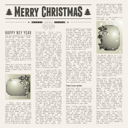 Christmas vintage newspaper with festive cards