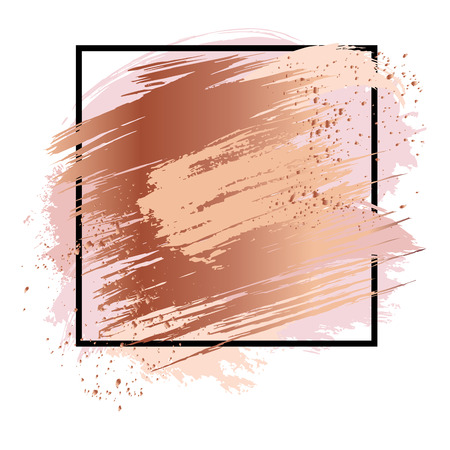 Illustration for Background with antic gold strokes, metallic smears and blobs.  Set of rose gold blobs, bronze splashes, glossy smears, grunge elements and copper strokes. Hand drawn brushes. Vector illustration. - Royalty Free Image