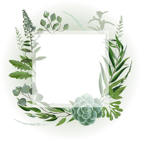 Illustration pour Wedding invitation frame  with leaves, succulents, twigs and plants. Herbal garland with greenery and green vegetation. Template design card with tree branches. Vector illustration - image libre de droit