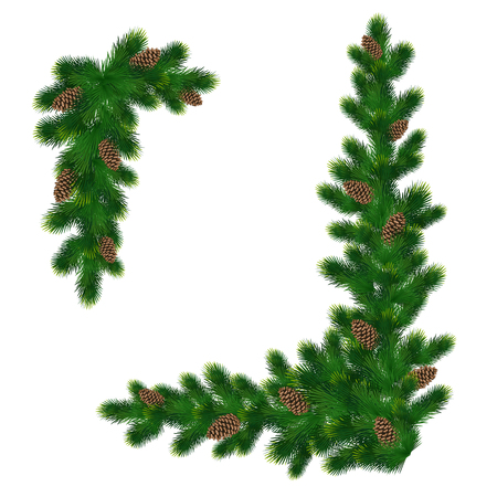 Illustration pour Christmas decorations with fir tree and pine cones. Design element for Christmas decoration. Vector illustration - image libre de droit