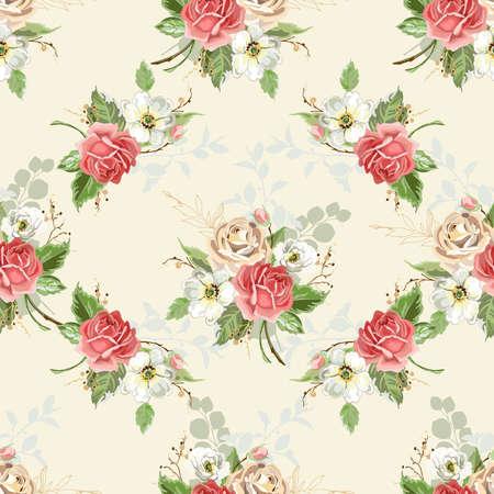 Illustration pour Seamless floral background. Pattern with roses. Vector illustration. - image libre de droit