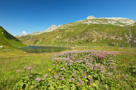 Oberalpsee, view of the lake from Oberalppass, Switzerland