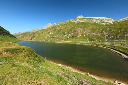 View of the lake Oberalpsee from Oberalppass, Switzerland