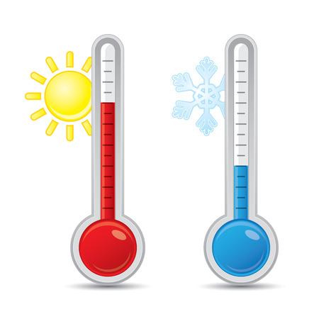 Thermometer with scale measuring heat and cold