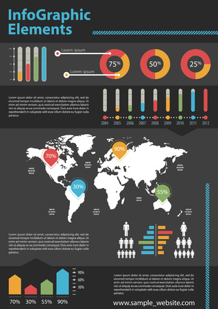 Detail business corporate info graphic with World Map and data summary.