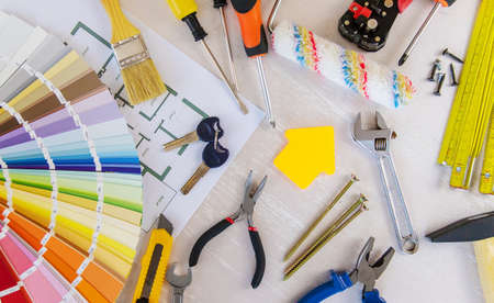 Photo for home improvement and renovation concept - construction tools and items. selective focus.interiors - Royalty Free Image