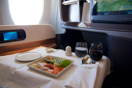 Photo for A perfect steak as an inflight meal in Business Class on my way to Singapore - Royalty Free Image