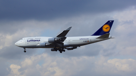 FRANKFURT, GERMANY - FEB 28th, 2015: The Lufthansa Boeing 747 - MSN 26427 - D-ABVN, named Dortmund landing at Frankfurt International Airport FRA. The famous and powerfull aircraft nicknamed as Jumbo has first flight in 1969. The type largest operators ar