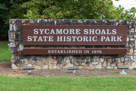 ELIZABETHTON, TN, USA-10/1/18: Entrance sign at Sycamore Shoals State Park.
