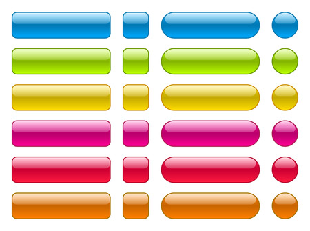 Set of blank colorful buttons. Colorful collection in different shape.