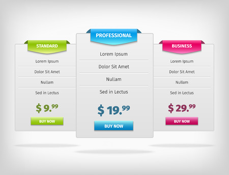 Web price banners for business plan. Comparison tables.