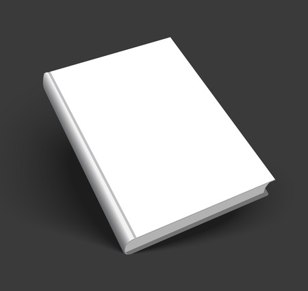 Blank book mockup with shadow isolated on dark black background.