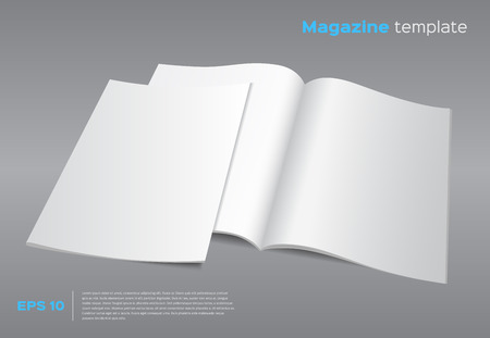 Illustration pour Blank brochure mockup template. Opened magazine with cover. Realistic vector EPS10 illustration. Gray background. - image libre de droit