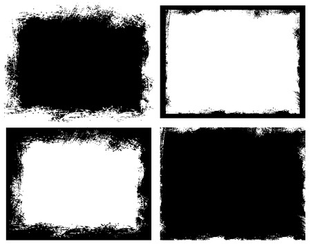 Illustration pour Set of grunge background. Broken dirty rough frames. Black and white editable vector ready to use. - image libre de droit