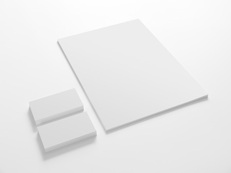 Photo pour Business cards and a paper isolated on white. Stationery corporate identity template mock-up. - image libre de droit