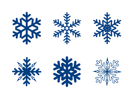 Illustration pour Vector snowflakes collection isolated on white. Dark blue colour. - image libre de droit