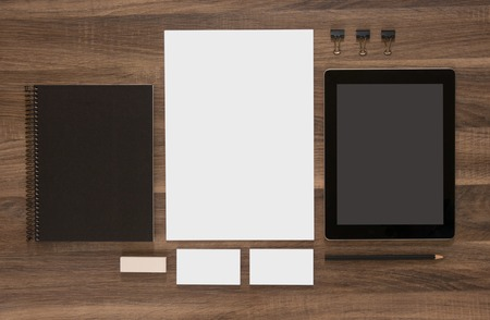 Branding mockup. Group of stationery with tablet and business cards. CI template.