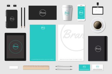 Illustration pour Branding template mockup for CI presentation on grey. Editable vector illustration. - image libre de droit