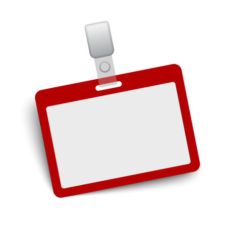 Red and gray blank vector name tag isolated on white background.